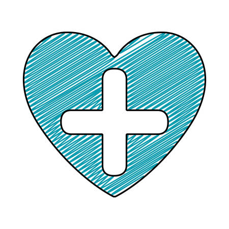 color pencil drawing of heart with cross inside vector illustration Ilustração