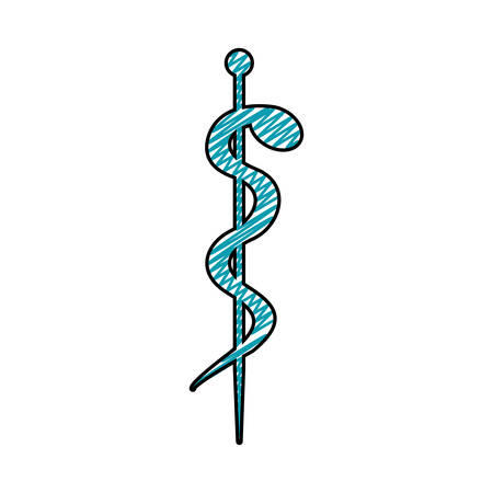 medical symbol: color pencil drawing of health symbol with serpent entwined vector illustration Illustration