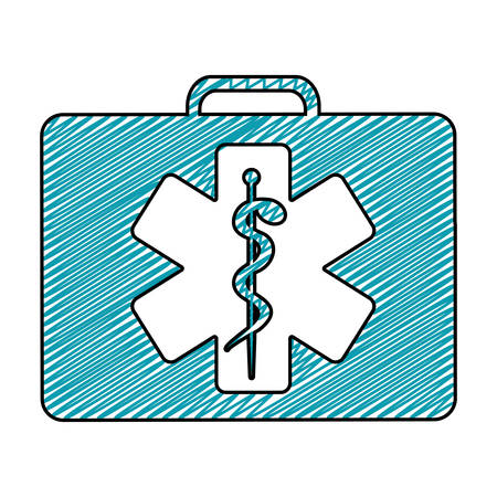 color pencil drawing of first aid kit with star of life  vector illustration