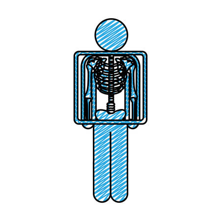 color pencil drawing of pictogram patient and radiography vector illustration