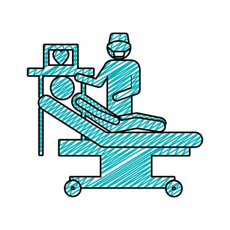 hospital stretcher: color pencil drawing of pictogram person with cardiologist vector illustration