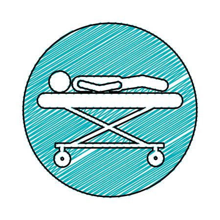 lay down: color pencil drawing circular frame of pictogram lay down patient in stretcher clinical vector illustration