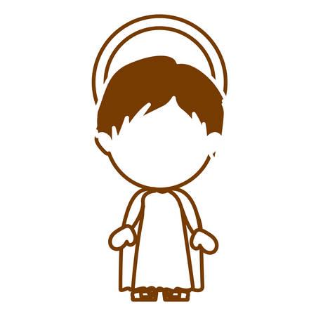 brown silhouette of faceless image of child jesus vector illustration Illustration