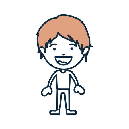 blue color contour of smiling boy standing with short hair beige and informal clothes vector illustration