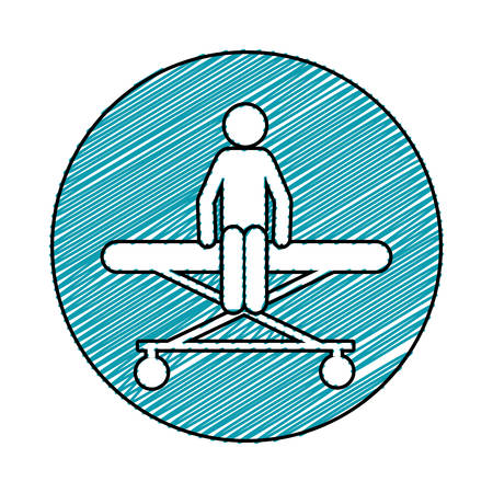 medical symbol: color pencil drawing circular frame of pictogram patient sit in stretcher clinical vector illustration