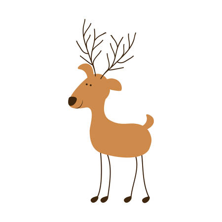 claus: silhouette caricature color of funny reindeer stand vector illustration