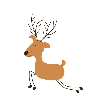 silhouette caricature color of funny reindeer jumping vector illustration