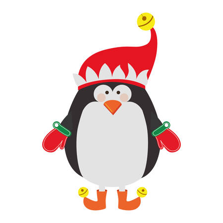 claus: silhouette of penguin with boots and gloves and christmas hat vector illustration