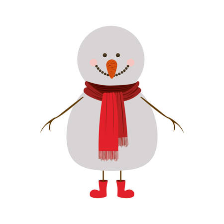 silhouette of snowman with red scarf and boots vector illustration Illustration