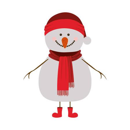 silhouette of snowman with red cap and scarf and boots vector illustration Illustration