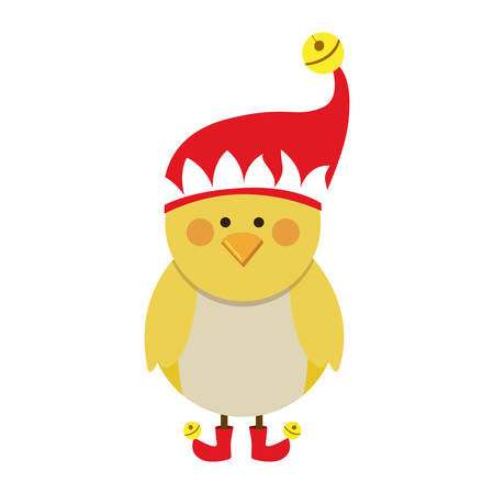 claus: silhouette of chicken with boots and christmas hat vector illustration