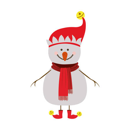 silhouette of snowman with red cap and scarf and boots and yellow garlands vector illustration