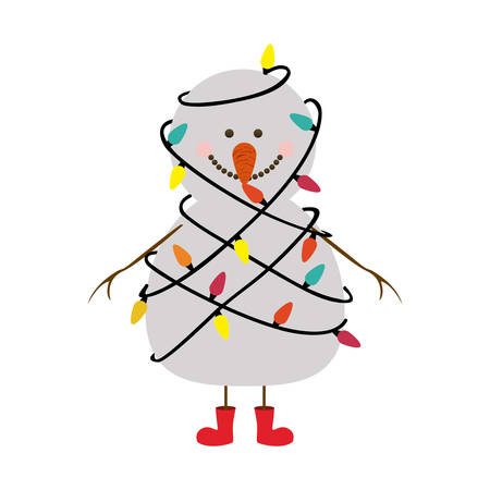 silhouette of snowman with red boots and tangled in cord lights christmas vector illustration stock vector
