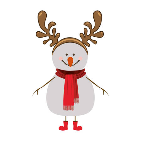 robo: silhouette of snowman with red boots and scarf and horns of reindeer vector illustration Vectores