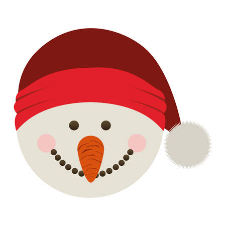 silhouette of snowman head with christmas hat vector illustration