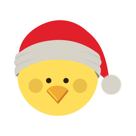 silhouette of chicken head with christmas hat vector illustration