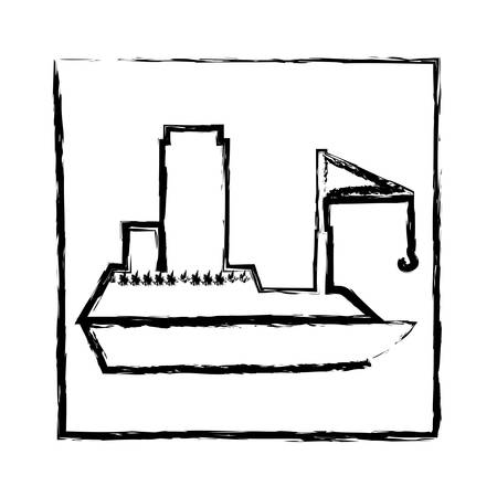 Monochrome blurred silhouette of frame with tanker cargo ship with crane vector illustration. Illustration