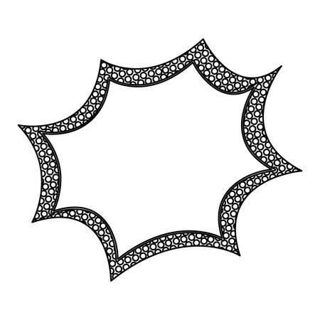 monochrome silhouette speech explosion bubble with dotted contour vector illustration Illustration