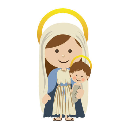 White background with colorful silhouette of saint virgin Mary with baby Jesus vector illustration.