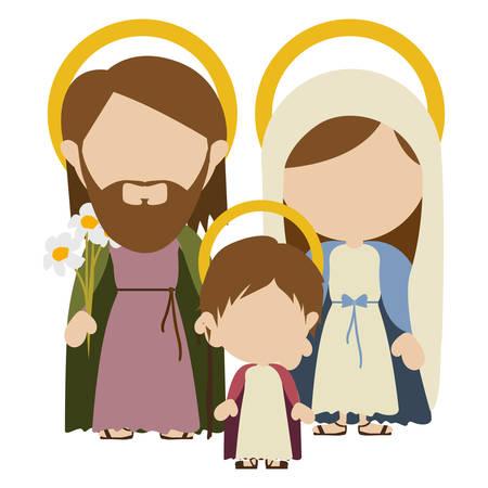 Fondo blanco con la silueta colorida de la imagen sin rostro de la familia sagrada con el ejemplo del vector de Jesús del bebé.