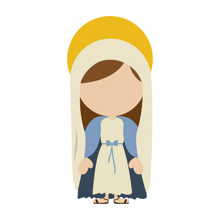 White background with colorful silhouette of faceless image of saint virgin Mary vector illustration.