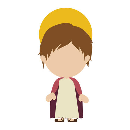 White background with colorful silhouette of faceless image of child Jesus vector illustration.
