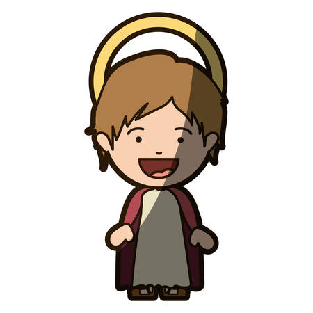 colorful silhouette of smiling image of child jesus with half shadow vector illustration Illustration