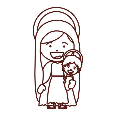 tunic: brown silhouette of saint virgin mary with baby jesus vector illustration