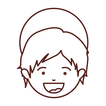 brown silhouette of face child jesus vector illustration