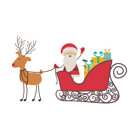 animal silhouette: colorful silhouette of caricature reindeer with santa claus in sleigh with gifts vector illustration Illustration