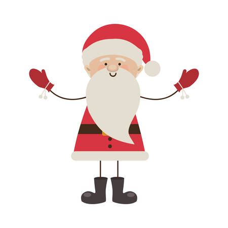 colorful silhouette caricature of santa claus with open arms vector illustration Illustration