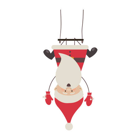 colorful silhouette caricature of santa claus pendant of swing vector illustration