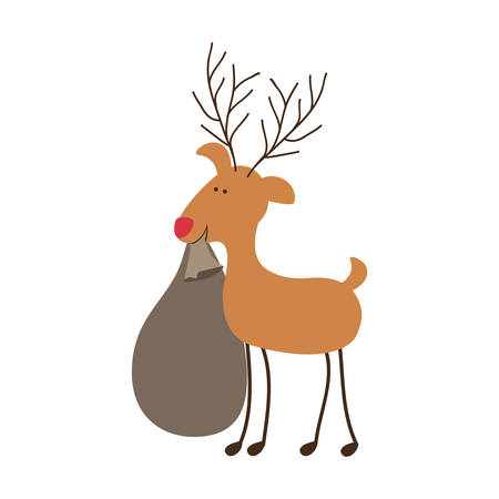 silhouette caricature color of reindeer with christmas gift bag vector illustration Illustration