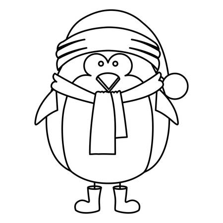 animal silhouette: Monochrome contour of penguin with boots scarf and gloves and christmas hat vector illustration