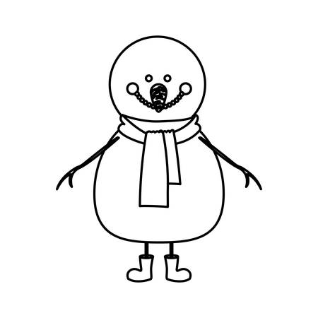 monochrome contour of snowman with scarf and boots vector illustration
