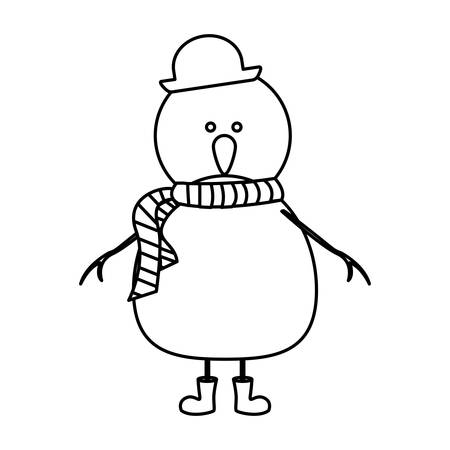 monochrome contour of snowman with boots and scarf and hat vector illustration Illustration
