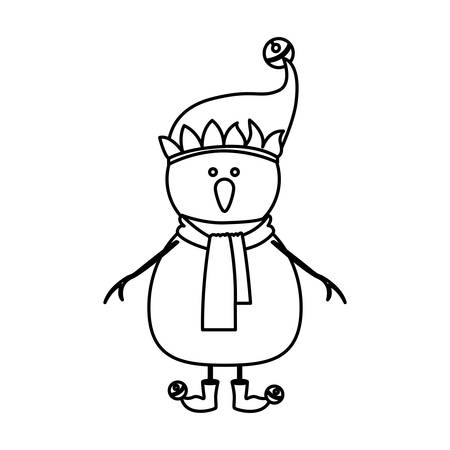 monochrome contour of snowman with cap and scarf and boots with balls vector illustration