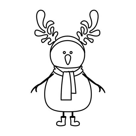monochrome contour of snowman with boots and scarf and horns of reindeer vector illustration