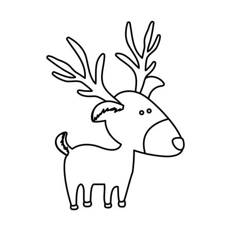 animal silhouette: monochrome contour of caricature reindeer stand vector illustration