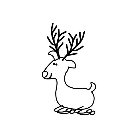 monochrome contour caricature of funny reindeer lazy vector illustration