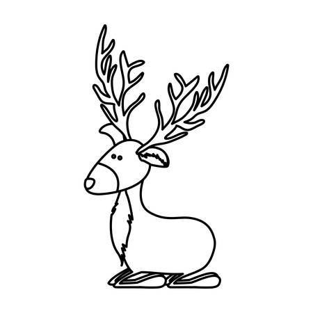 Monochrome contour caricature of funny reindeer sitting vector illustration