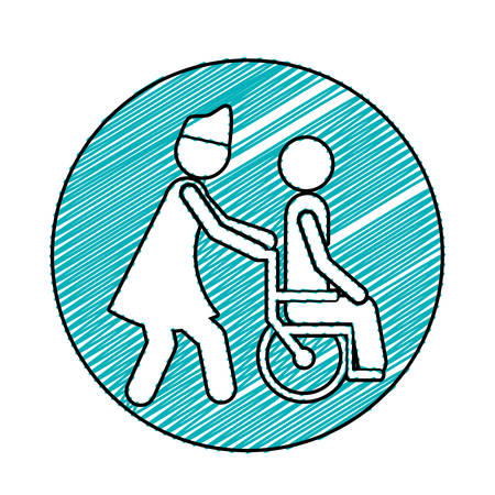 Color pencil drawing circular frame with nurse helping another person push a wheelchair vector illustration Illustration