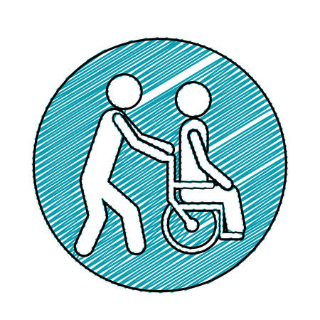 Color pencil drawing circular frame with person helping another push a wheelchair vector illustration Illustration