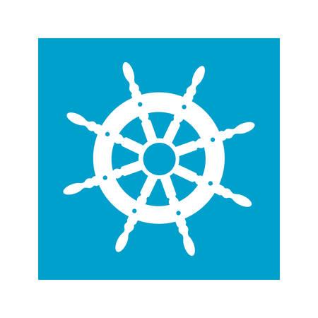 blue square frame with boat helm vector illustration
