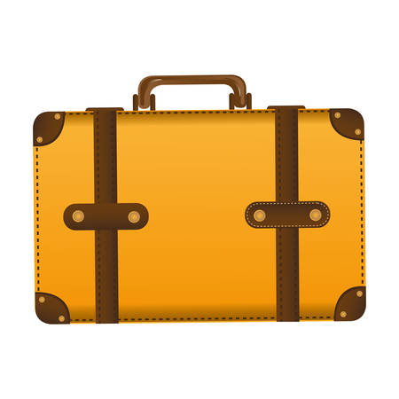 handgrip: Realistic silhouette of leather suitcase vector illustration.