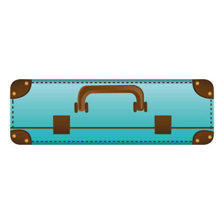 handgrip: Realistic silhouette with blue suitcase vector illustration. Illustration