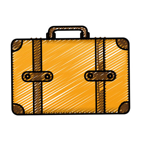 handgrip: color pencil drawing silhouette with leather suitcase vector illustration