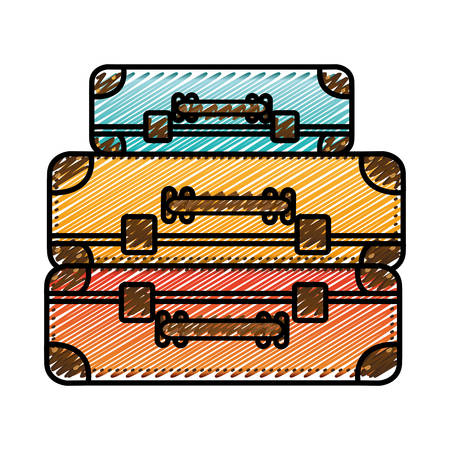 handgrip: color pencil drawing silhouette with set of suitcases set in several colors vector illustration