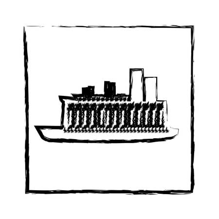 monochrome blurred silhouette of frame with cargo ship vector illustration