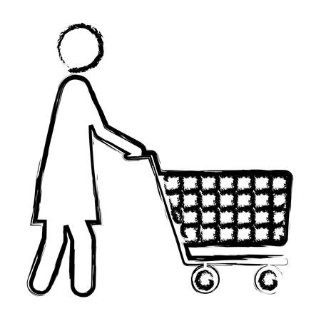 mujer en el supermercado: monochrome blurred silhouette of pictogram woman with shopping cart vector illustration Vectores